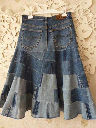 юбка из старых джинсов, вид сзади