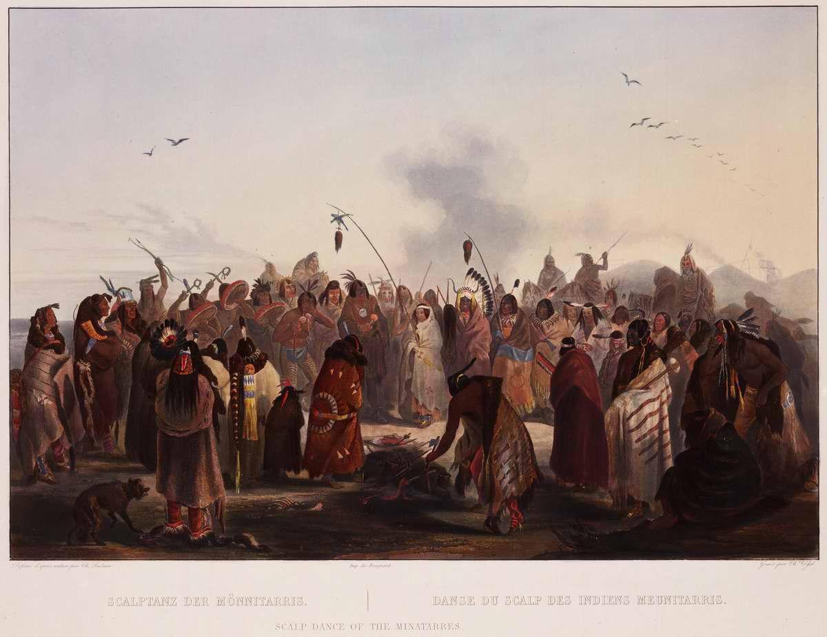 Танец скальпов индейцев племени Minatarre - Karl Bodmer