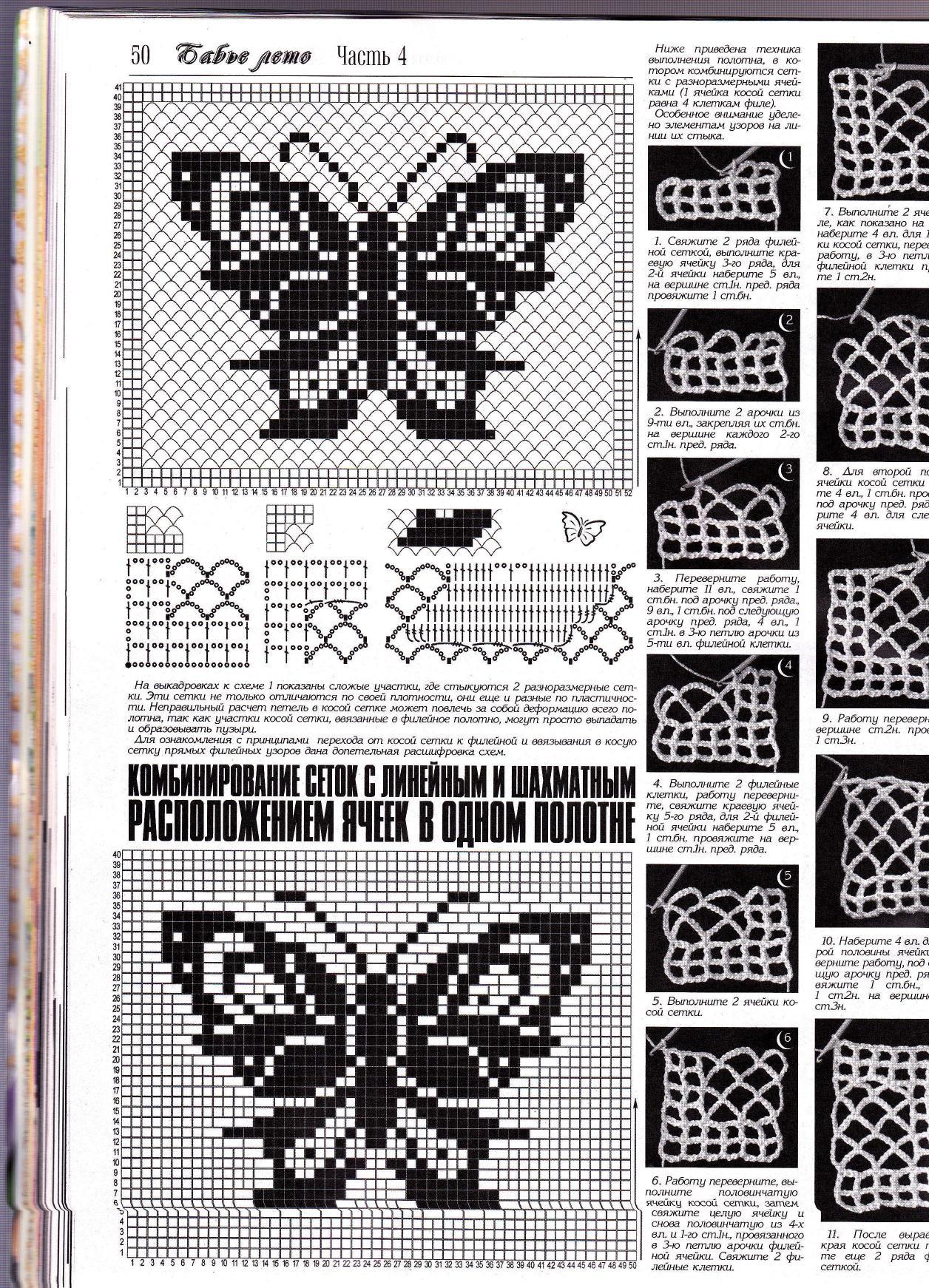 Схемы бабочек на филейной сетке