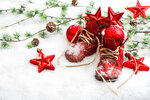 christmas decoration with antique baby shoes