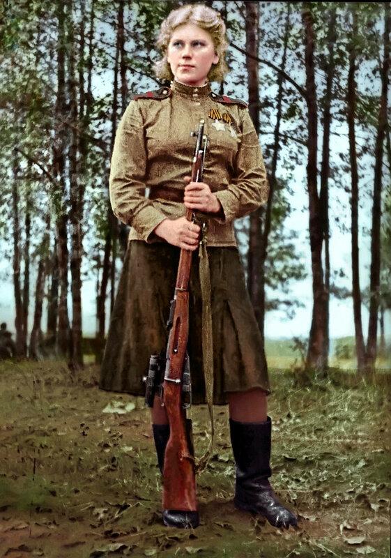 Шанина Роза Егоровна (3 апреля 1924 - 28 января 1945) - одиночный снайпер отдельного взвода снайперов-девушек 3-го Белорусского фронта, кавалер ордена Славы. Погибла в Восточной Пруссии 28 января 1945.jpg
