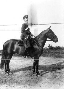 Казачий офицер на коне во дворе казарм.