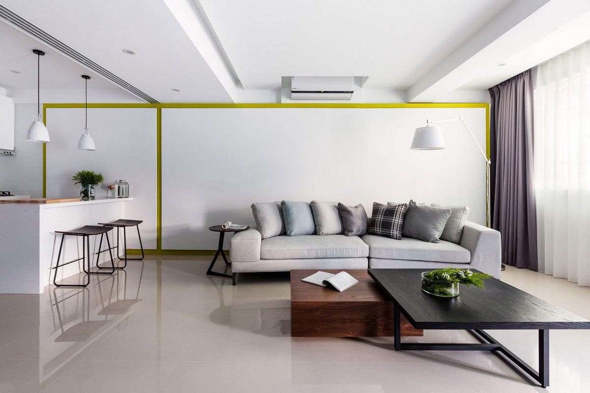 Z-Axis Design, дизайн интерьера двухкомнатной квартиры, интерьер двух комнатной квартиры фото, квартира в Тайване, маленькая квартира в Тайяжуне