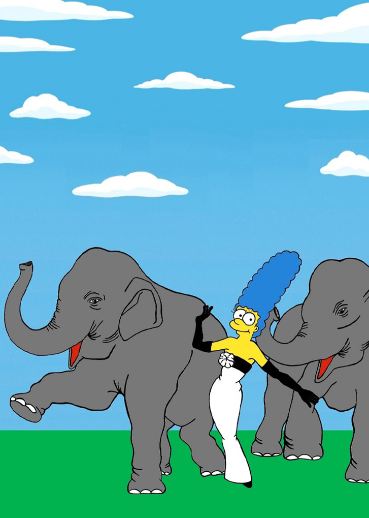 Marge Simpson as a Dovima with Elephants - Style Icons in aleXsandro Palombo illustrations
