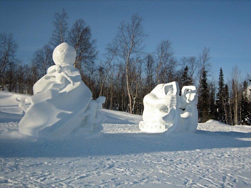 В снежной деревне