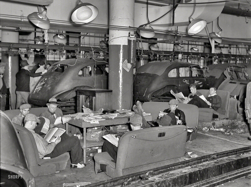 January 1937. Flint, Michigan. Sit-down strikers. Fisher Body plant No. 3