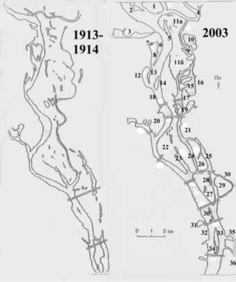 Абриси дніпровських островів у 1913-1914 рр. та 2003 р. (за В. І. Вишневським зі змінами) Фото h.ua
