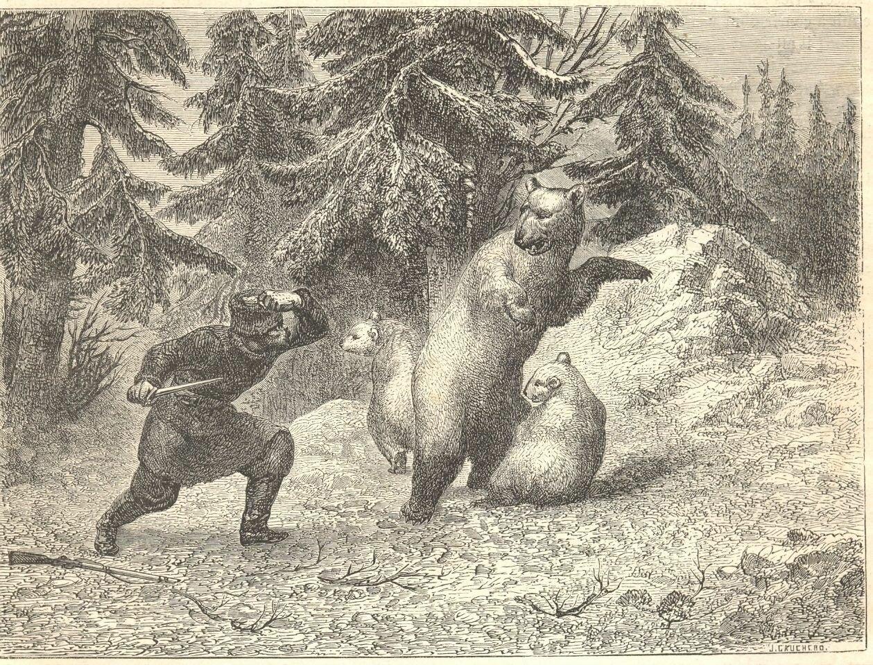 1862. Схватка охотника с медведями