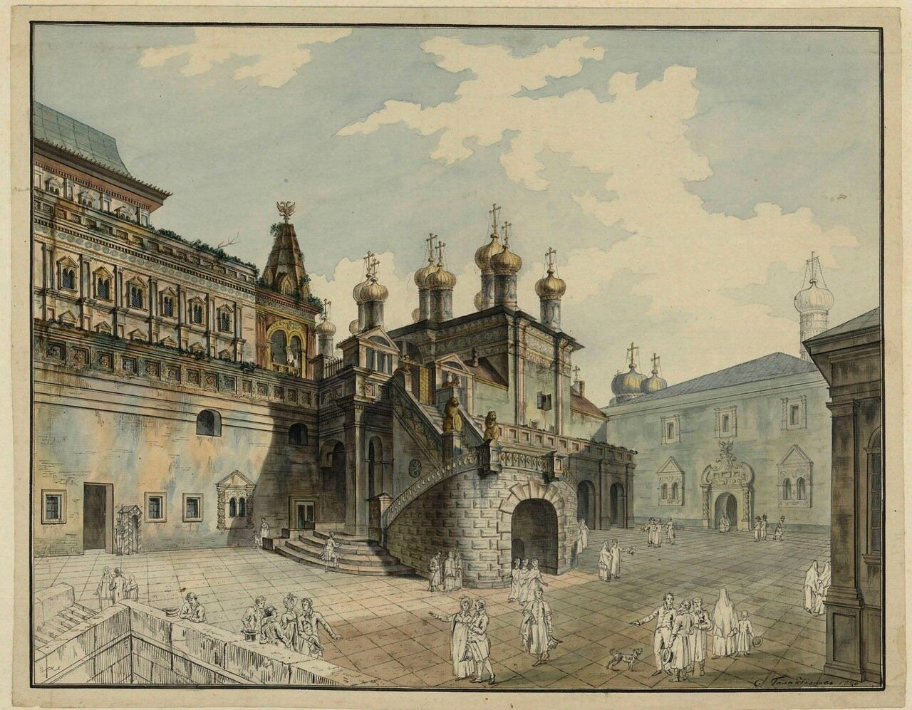 Вид на Боярскую площадку в Московском Кремле