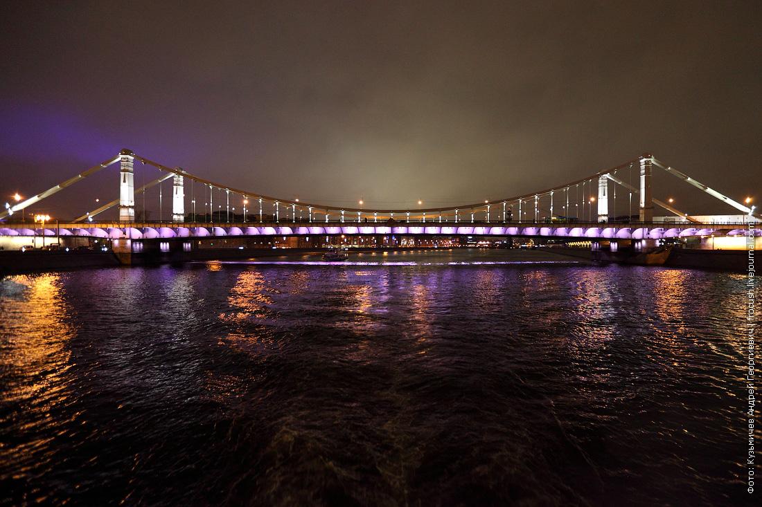 ночное фото Крымский мост