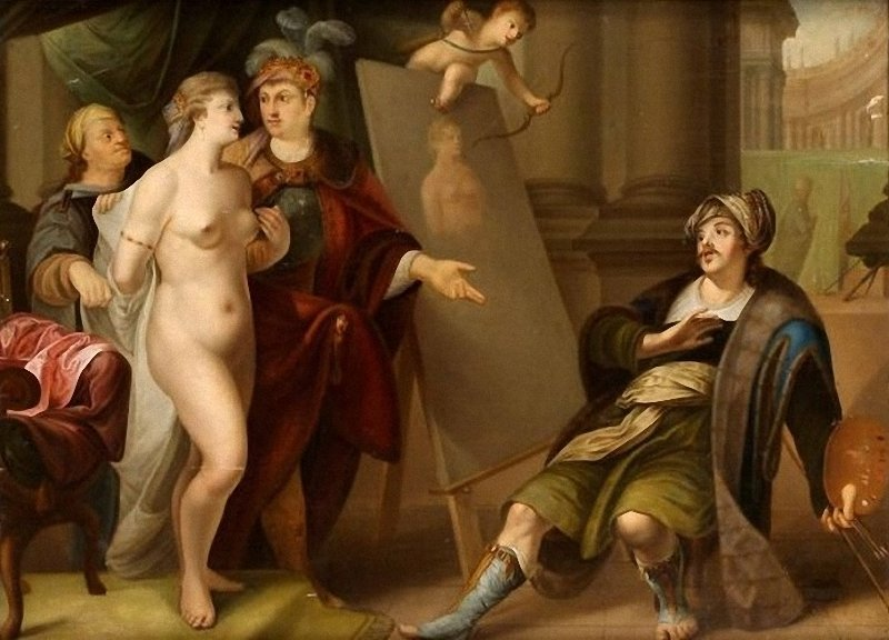 Apelles paints Campaspe, by Gerard Wigmana.jpg