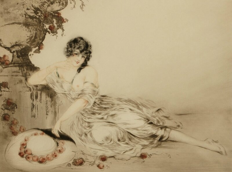 Прекрасен образ женщины-загадки. Изящна, грациозна и стройна... Художник Луи Икар (Louis Icart)