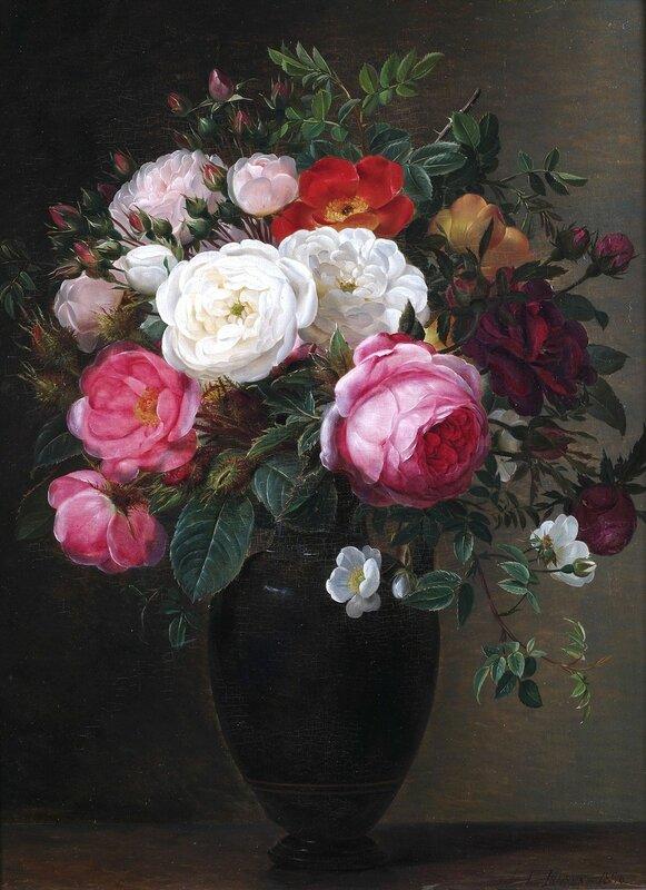 Цветочный натюрморт с различными розами в вазе.jpg