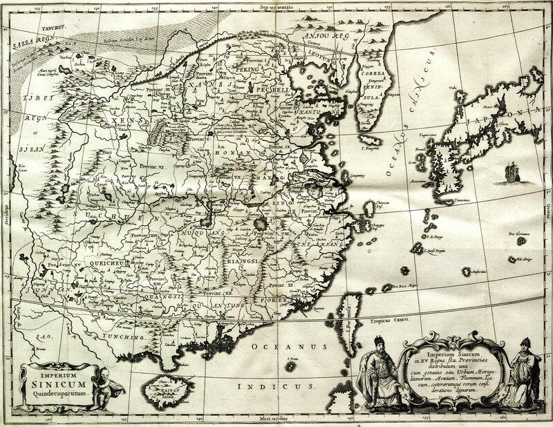 карта Китайской Империи работы Афанасия Кирхера (1667 г.)