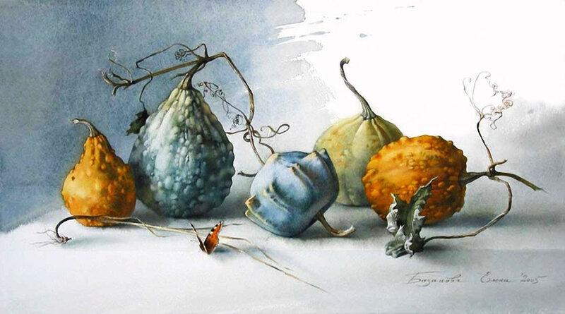 Елена Базанова: акварельные натюрморты— овощи, грибы и другое