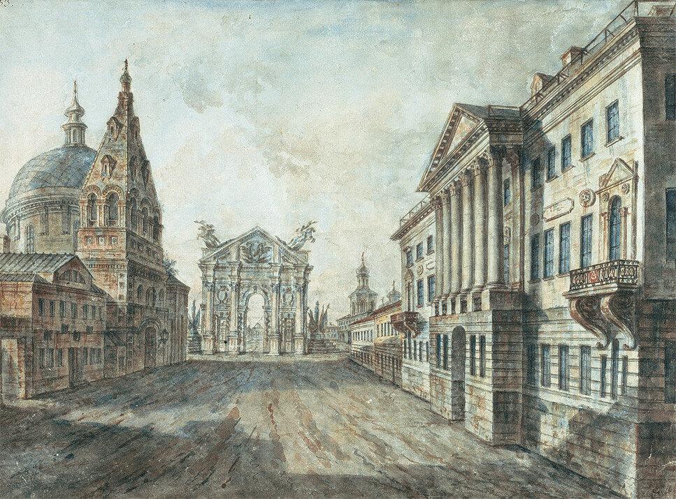 452939 Вид Страстной площади с Триумфальными воротами, церковью Дмитрия Солунского и домом Козицкой.jpg