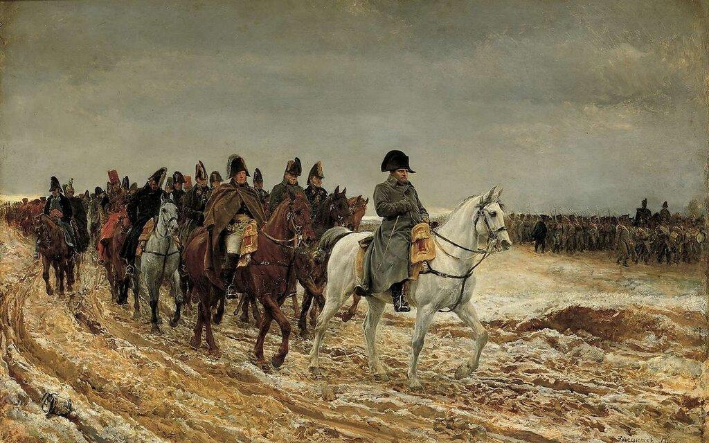 Наполеон и его соратники возвращаются из Суассона, после битвы, 1864 г.