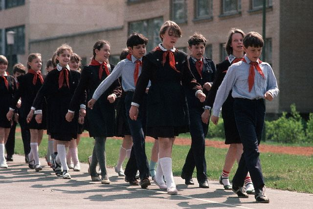 Soviet Schoolchildren Marching in Formation