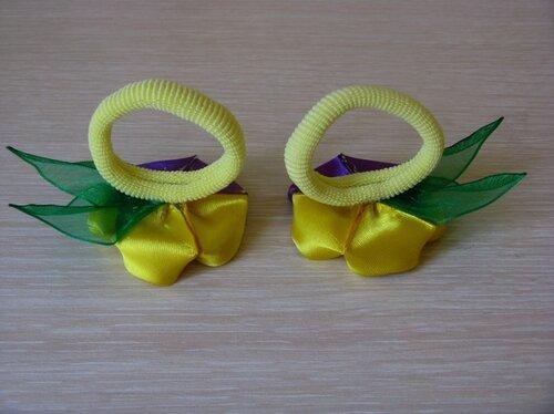 Резинки для волос с анютиными глазками