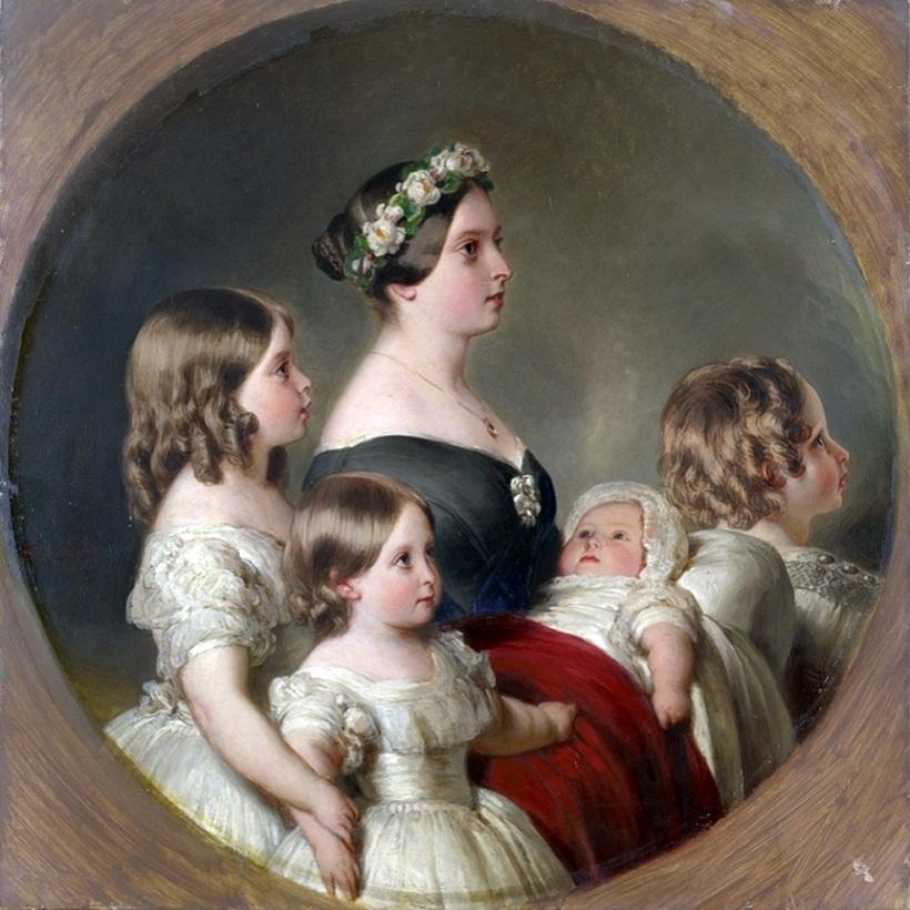 Королева Виктория с дочерьми Викторией и Алисой, сыном Альбертом-Эдуардом и младшим Альфредом. Художник Ф-К. Винтерхальтер, 1845 г