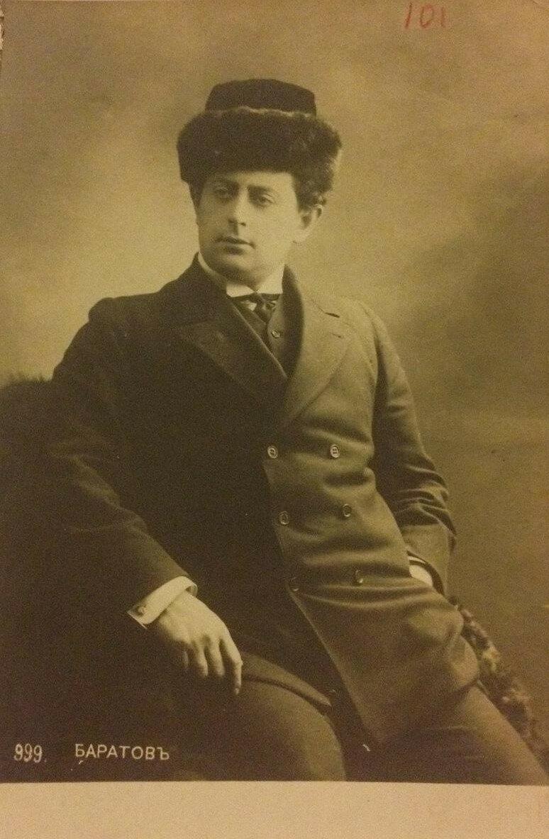 Петр Баратов. Окончил Киевский университет и работал в 1900гг. в Художественном театре, затем, переехав в Петербург, - в Новом театре и в Малом театре.