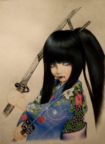 Аниме-арт. Рисунок цветными карандашами (видео)