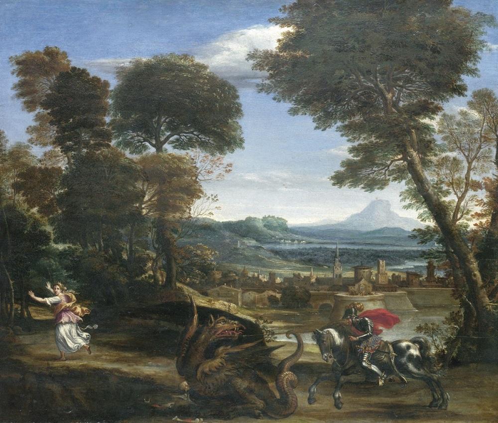 1610 Доменикино (Цампьери, Доменико) Святой Георгий, побеждающий дракона около 1610 дерево масло 52,7 х 61, 8 Национальная Галерея, Лондон.jpg