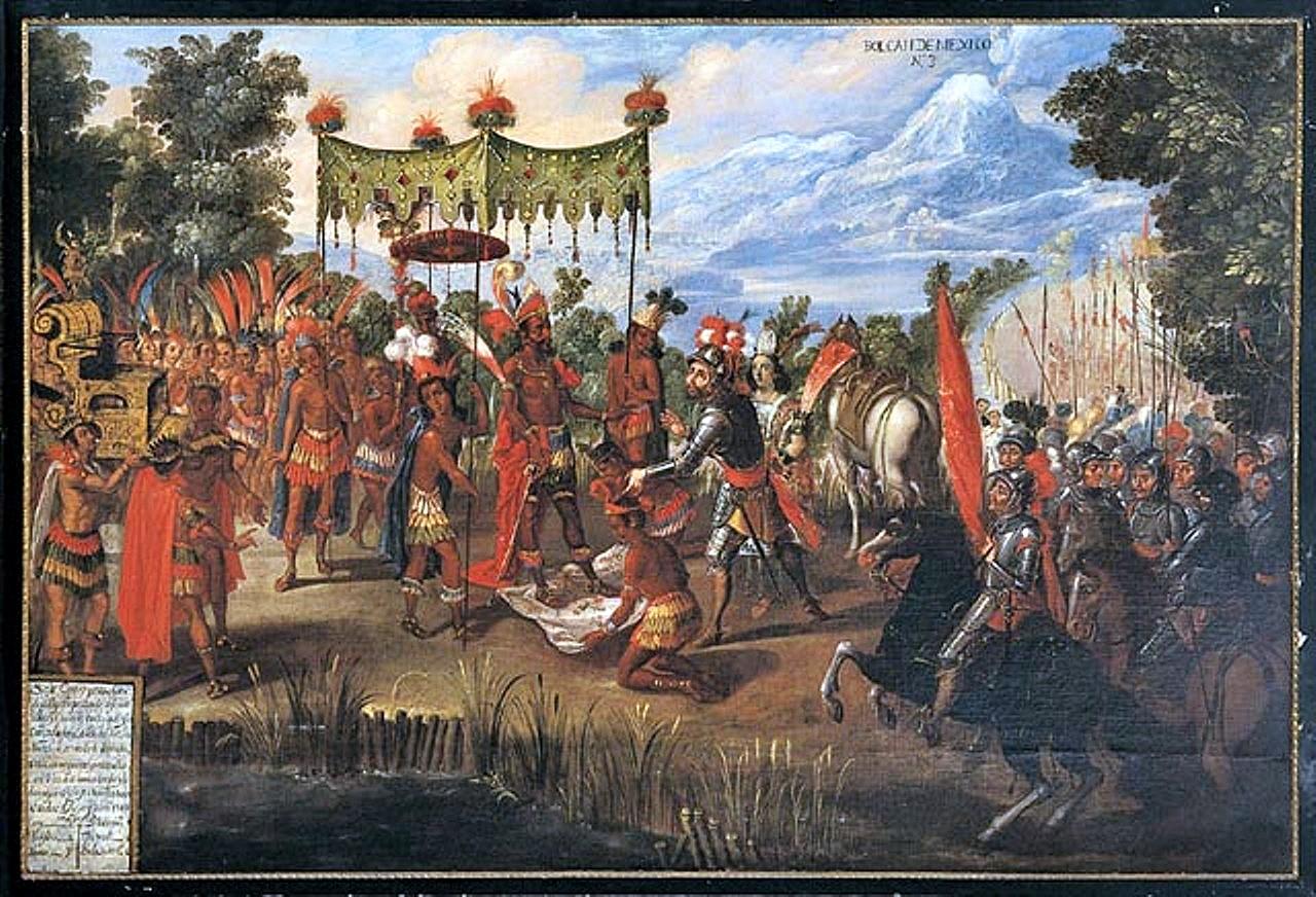 Встреча Кортеса и Монтесумы. Неизвестный художник, вторая половина XVII века.jpg
