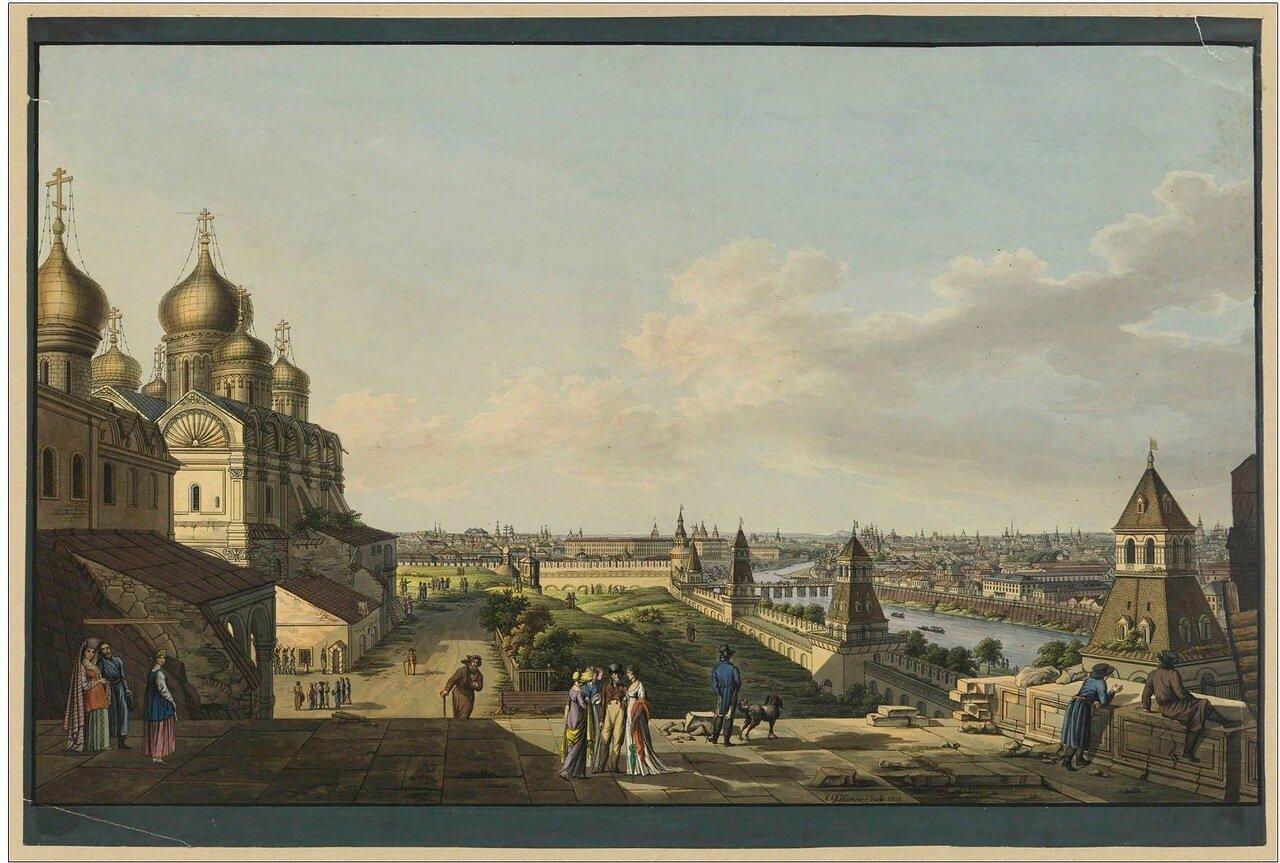Вид города Москвы, снятый с балкона Императорского дворца по левую сторону