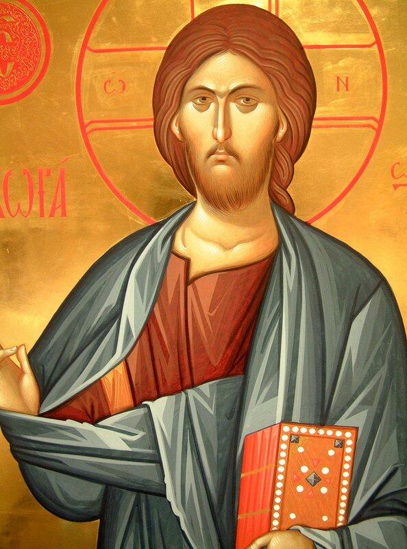 Господь Вседержитель. Иконописец Александр Рудой. Фрагмент иконы.