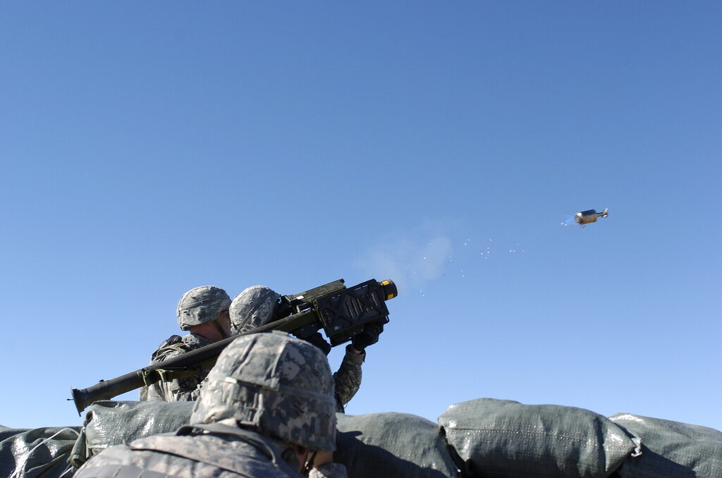 SPC Askey fires a launch motor of a Stinger missile at NTC on 10 Dec 2008.