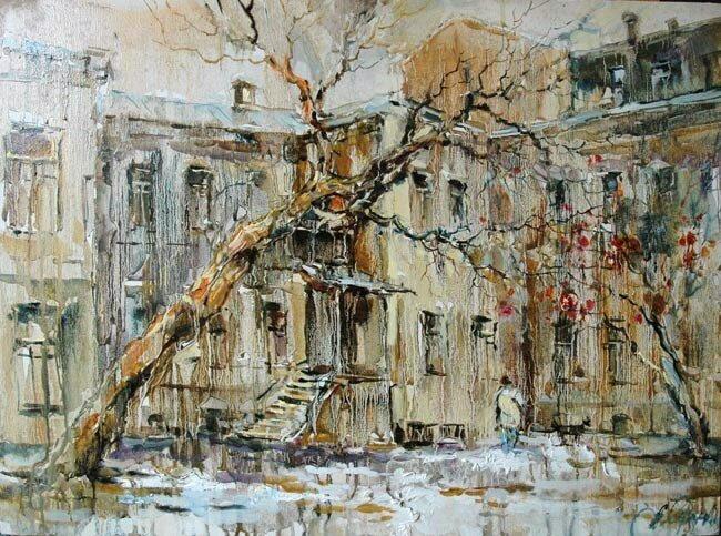 Анна Чарина. Зимняя рябинка. Двор в Печатниковом переулке.jpg