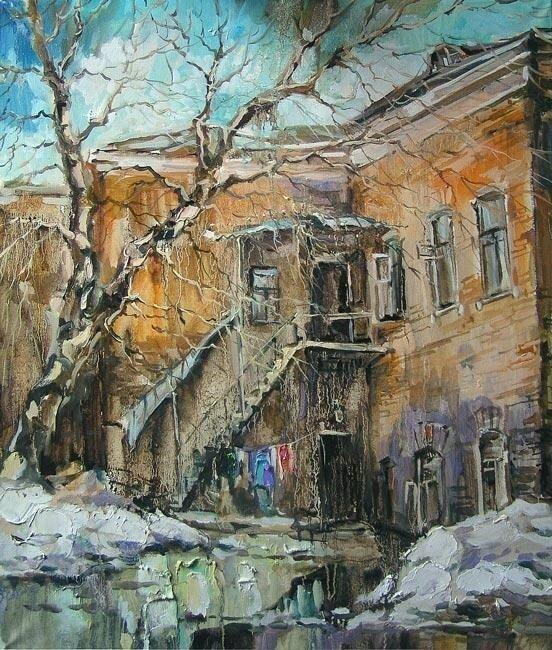 Анна Чарина. Март. Двор на Зубовском бульваре.jpg