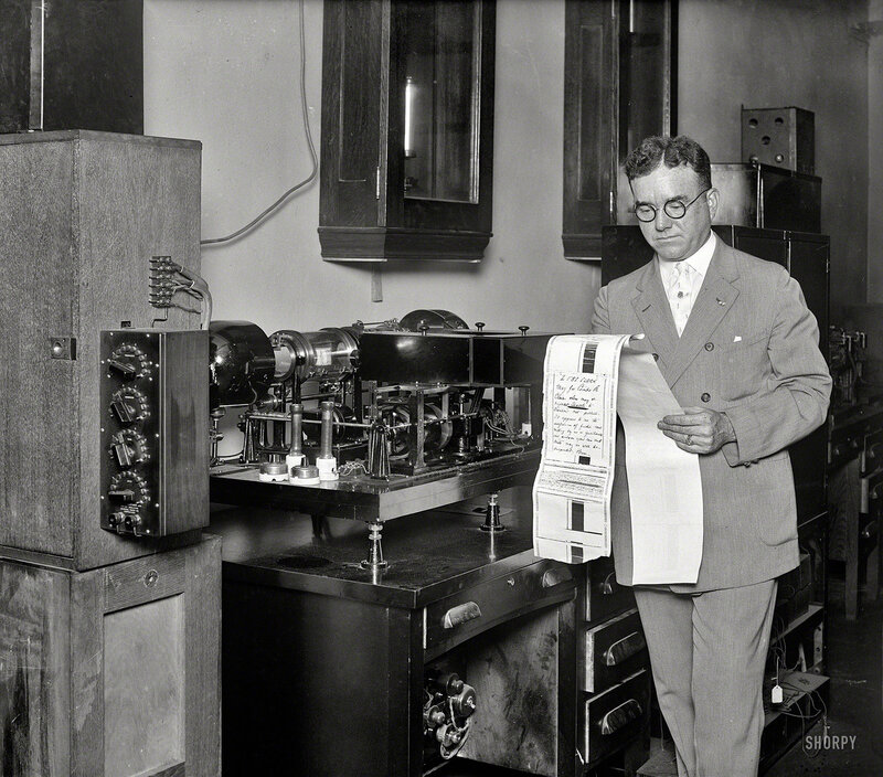 Washington, D.C., 1927. No caption on this Harris & Ewing glass plate of what seems to be facsimile equipment