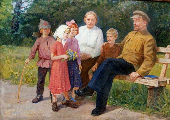 В. Снопов. Ленин и Крупская с детьми. 1964.