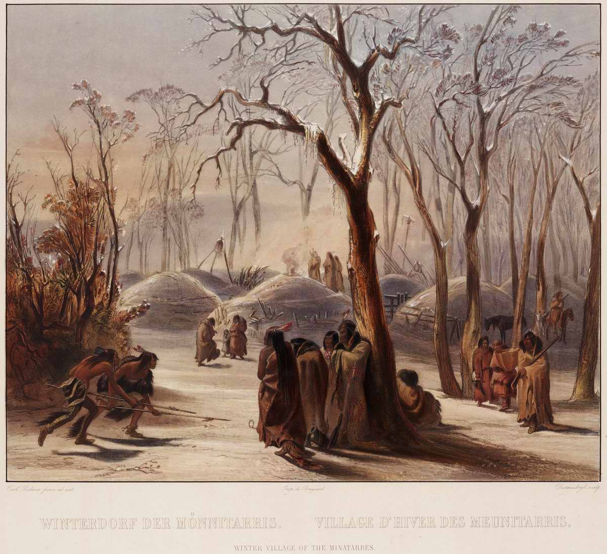 Зимний лагерь индейцев племени Minatarre - Karl Bodmer