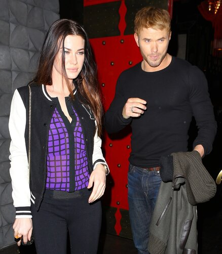 Kellan Lutz was spotted out with an attractive young woman, and forced to field questions about whether or not he was romantically involved with Miley Cyrus, on Thursday, December 19, 2013 X17online.com