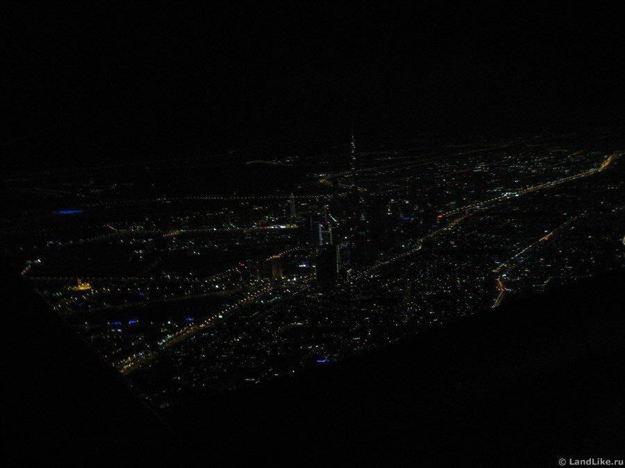 Ночной Дубай из самолета