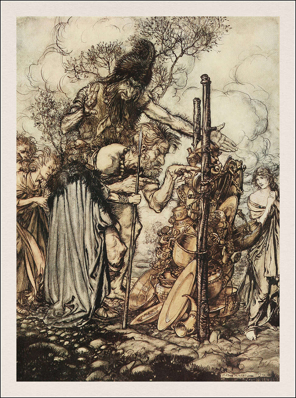 Arthur Rackham. The Rhinegold & the Valkyrie