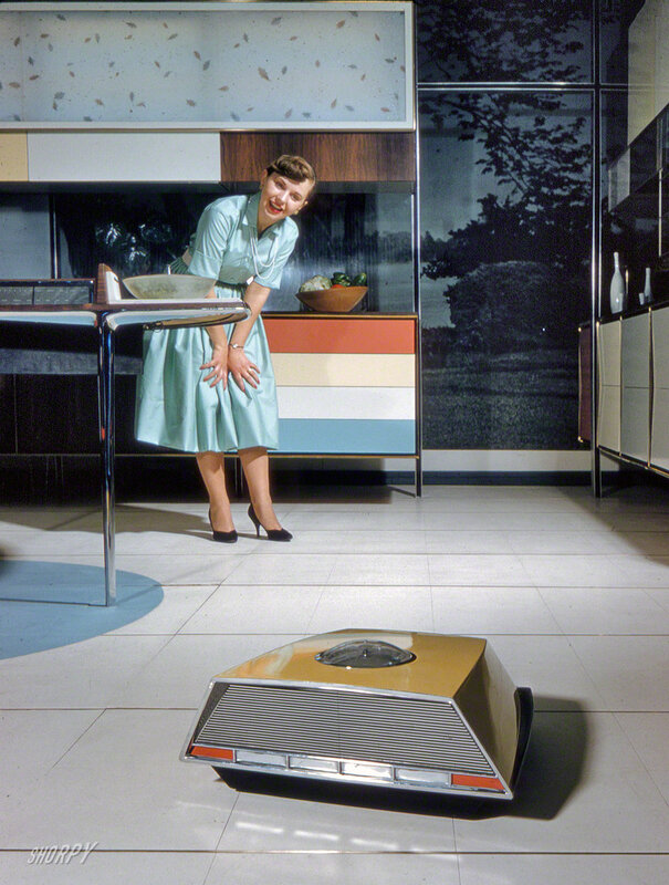 1959. Anne Anderson in Whirlpool 'Miracle Kitchen of the Future,' a display at the American National Exhibition in Moscow