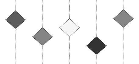 Рис. 4.21. Тот же набор элементов после распределения, с выравниванием интервалов между элементами