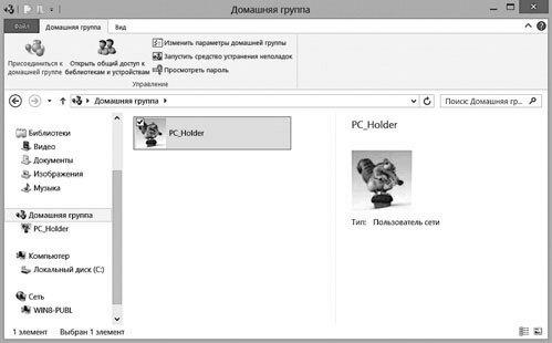 Рис. 7.3. Домашняя группа Windows 8