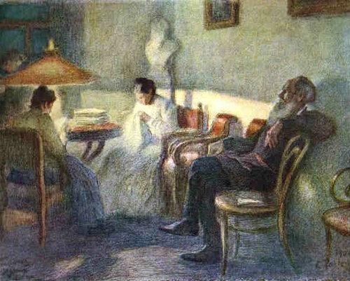Леонид Пастернак. Лев Толстой в кругу семьи. 1902