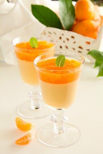 orange panna cotta with slices of oranges.
