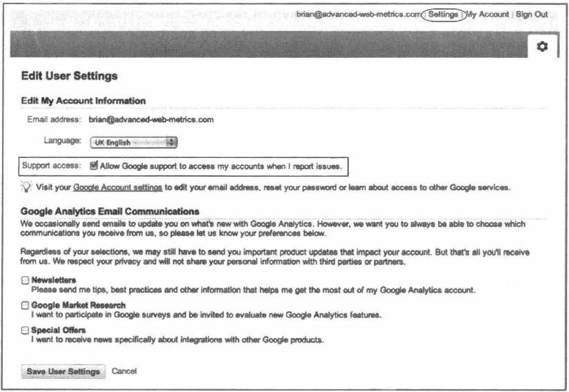Рис. 3.3. Предоставление сотрудникам службы поддержки Google Analytics доступа к своим данным