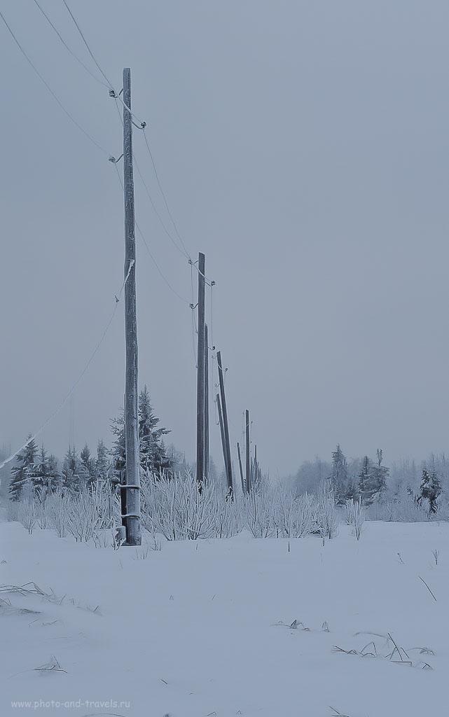 Фото 5. Пример фотографии с зимним пейзажем без коррекции экспозиции. 1/60, 11.0, 100, 55. Уроки для новичков.