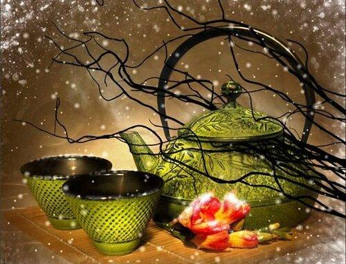 Зеленый чай в картинках и фото