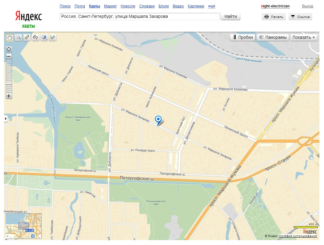 Скриншот 1. Улица Маршала Захарова на Яндекс-картах.