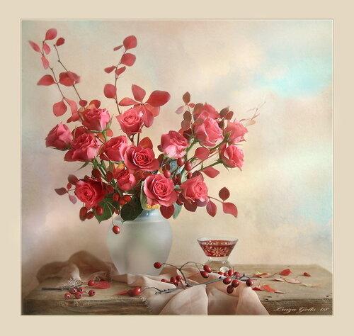 Розы с ветками осенними открытка поздравление картинка