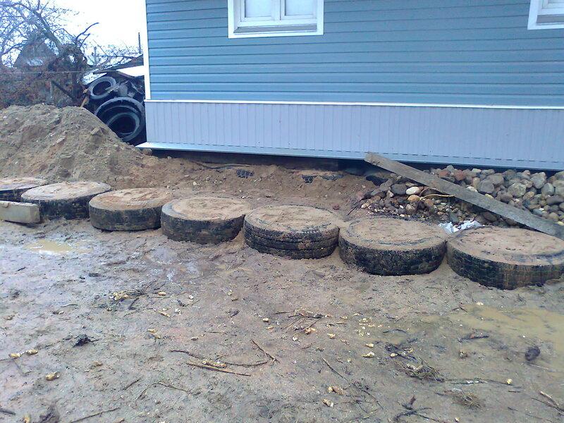 Фундамент из покрышек для гаража своими руками 46